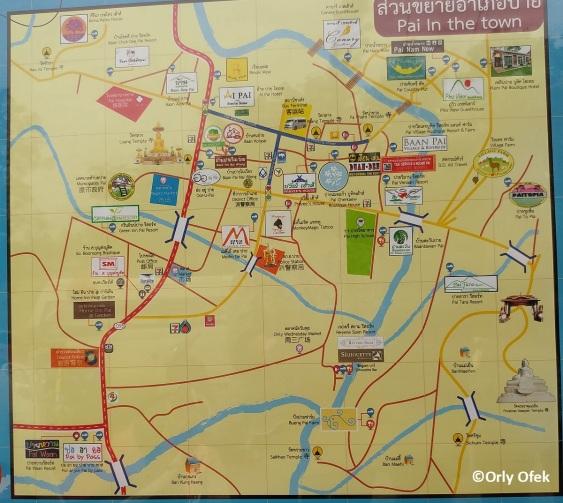 מפת העיירה פאי והאטרקציות בסביבתה